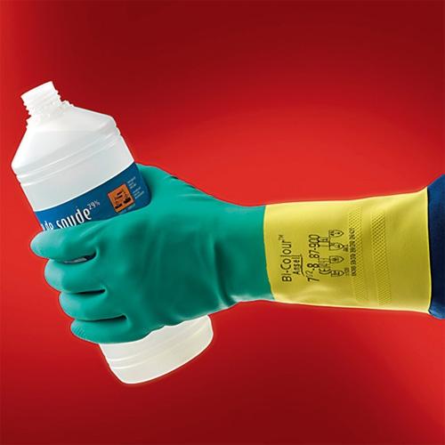 Перчатки резиновые  КЩС Би-Колор Плюс 87-900 Ansell
